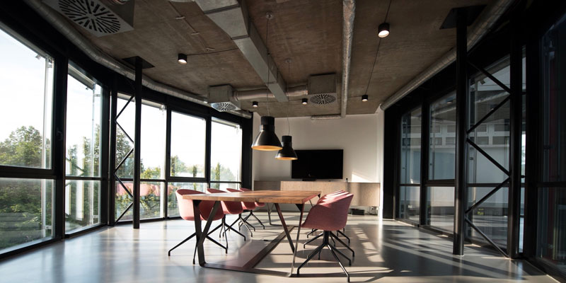 office conference room with overhead ventilation system