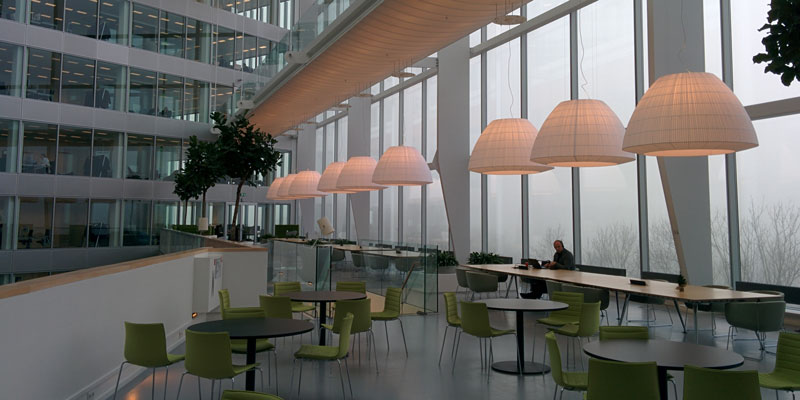 large office building's dining space in front of large window