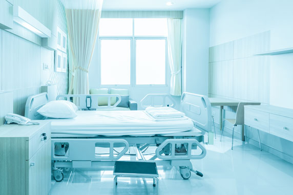 hospital room with life safety and security systems